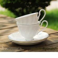 Europäischen stil bone china kaffeetasse 200 ml pure white kreative Gewinde kaffeetasse qualität Phnom Penh Nachmittag Tassen & untertasse
