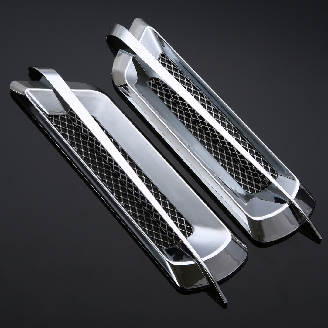 2Pcs Car Styling Chrome Grid Air Flow Fender Electroplate Car Side Vent Fender Cover Sticker Car Body Decor stainless steel car front wheel fender air vent cover trim anti scratch car body sticker for mini cooper clubman f54 car styling