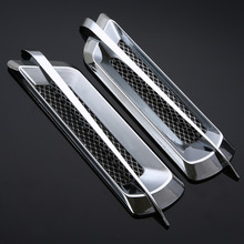 2Pcs Car Styling Chrome Grid Air Flow Fender Electroplate Side Vent Cover Sticker Body Decor
