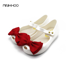 Mini Melissa White Shoes Big Bow Girls Sandals 2017 New High Quality PVC Girls Shoes Melissa Shoes For Girls Slip Resistant