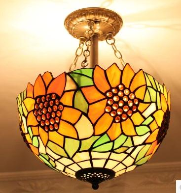 12inch European Tiffany retro stained Glass Mediterranean style pastoral sunflower Ceiling Light luminaria lamparas de techo12inch European Tiffany retro stained Glass Mediterranean style pastoral sunflower Ceiling Light luminaria lamparas de techo