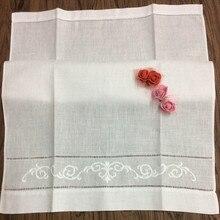 """12 шт носовой платок Белый пеньстич льняное чайное полотенце ткань гость ручная тарелка полотенце для ванной, кухни с вышитым цветочным рисунком 1"""" x 22"""""""