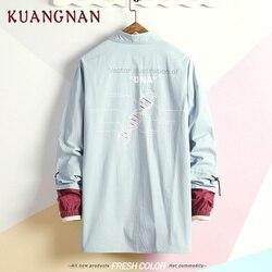 KUANGNAN Japan Style Geometric Shirt Men Streetwear Men Shirts Casual Slim Fit Korean Men Shirt Long Sleeve 5XL Clothing 2019 2