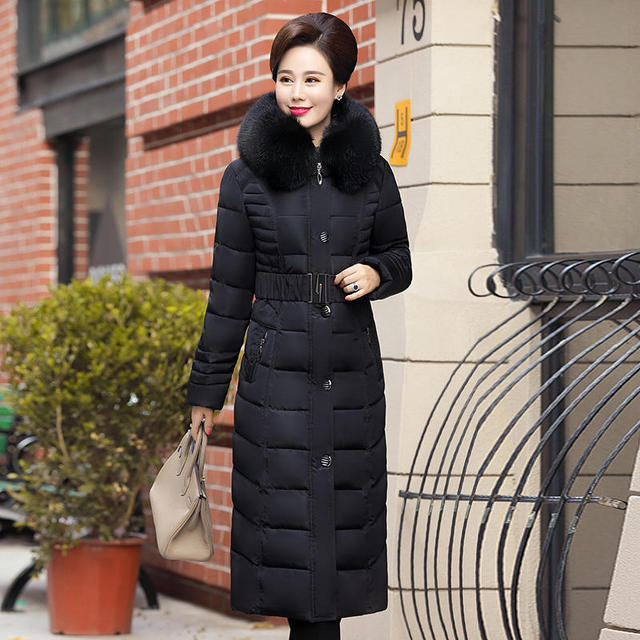 Plus Size 4XL 5XL Middle-Aged Long Winter Jacket Thicken Hooded Fur Collar Cotton Padded Jacket Female Winter Coat Women C5062 3