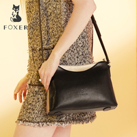 FOXER Women Shoulder Bag Cow Leather Crossbody Bag for Female Simple & Luxury Shoulder Bag Lady Brand High Quality Bags