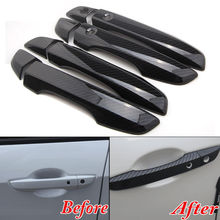 4x Car Interior Mouldings ABS Carbon Fiber Style Outside Door Handle Decal Cover BEZEL For RHD Honda Civic 2016 2017 Car Styling стоимость