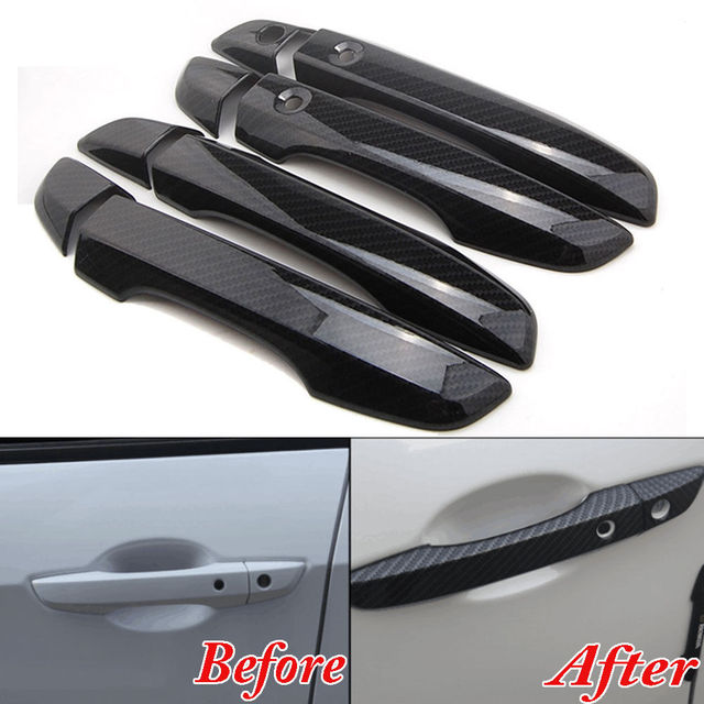 4x Car Interior Mouldings ABS Carbon Fiber Style Outside Door Handle Decal Cover BEZEL For RHD Honda Civic 2016 2017 Car Styling