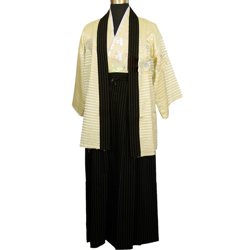 Image 3 - Vintage Japones Kimono Man Japanese Traditional Dress Male Yukata Stage Dance Costumes Hombres Quimono Men Samurai Clothing 89-in Asia & Pacific Islands Clothing from Novelty & Special Use