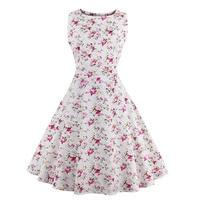 2017 New Style Summer Retro Dress Print Floral 50s 60s Vintage Dress Audrey Hepburn Robe Women