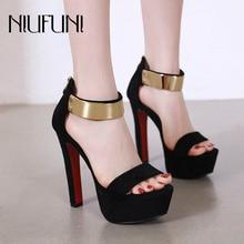 Summer Fashion Waterproof Platform Womens Sandals NIUFUNI 2019 New Super High Heels Thick Heel Suede Metal Sexy Shoes