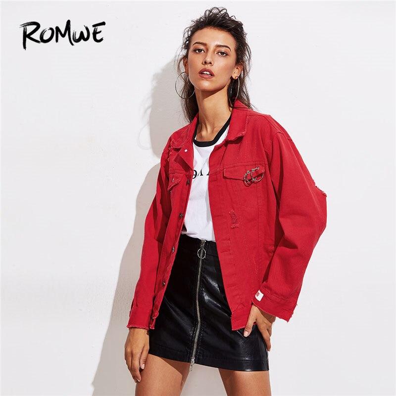 ROMWE O-Ring Detail Destructed Denim Jacket 2018 Весенняя однобортная однотонная женская куртка с красным воротником повседневная куртка