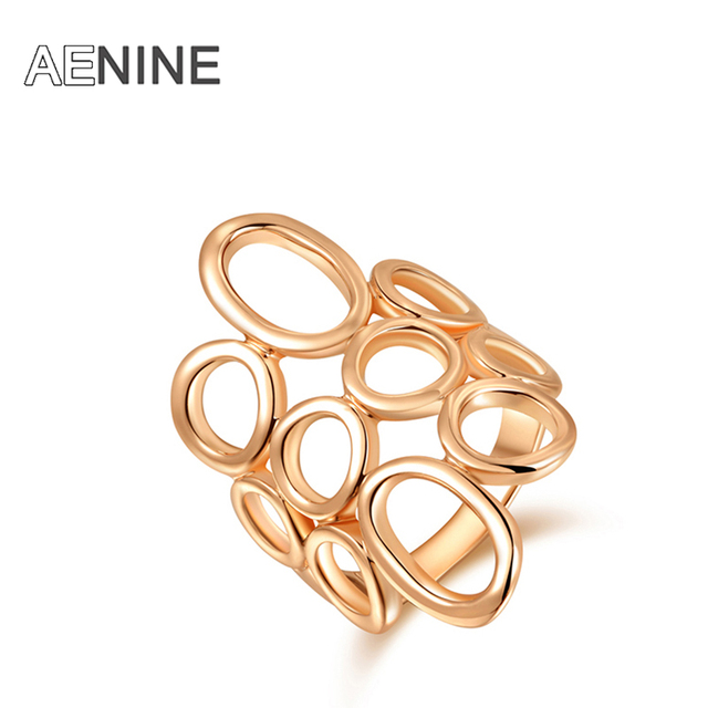 AENINE Simple Rings Rose Gold Color Environmental Ring Jewelry For Women Anel Fe