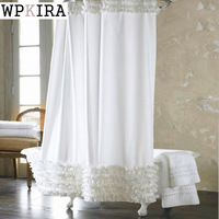 White Lace Shower Curtain Modern Bath Curtain Waterproof Polyester Bathroom Products White Bathroom Curtain 180cm 180cm