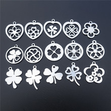 Талисманы из нержавеющей стали Lucky Clover 4 листья цветы кулон Diy ювелирные изделия ожерелье серьги изготовление компоненты
