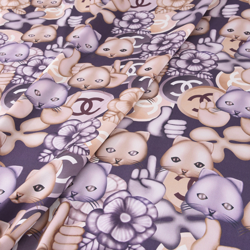 140CM Wide 17MM Cute Fox Print Soft Light Purple Silk Crepe Plain Silk Satin Fabric for