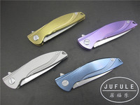 JUFULE Neon Dmitry Sinkevich ball bearing D2 blade titanium Handle weight reduce flipper folding Kitchen Knives EDC tools