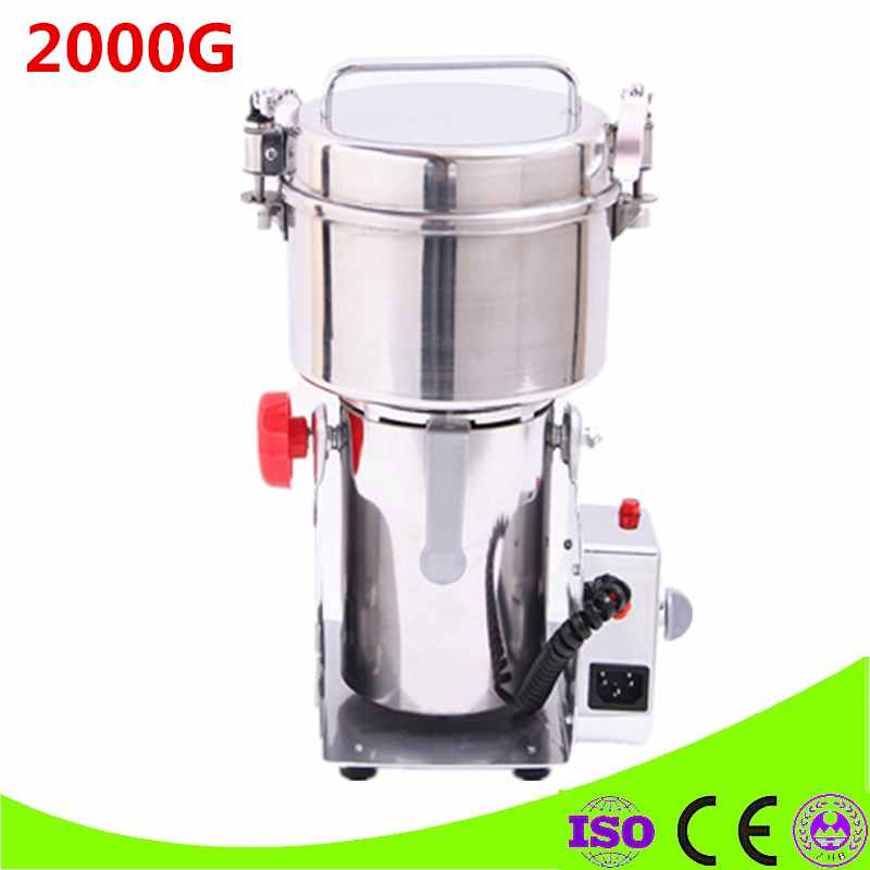 2000G Large Capacity Food Grinding Mill Machine Stainless Steel Electric Spices Pulverizer / Herb Grinder Mill Pepper 220V/110V vibration type pneumatic sanding machine rectangle grinding machine sand vibration machine polishing machine 70x100mm