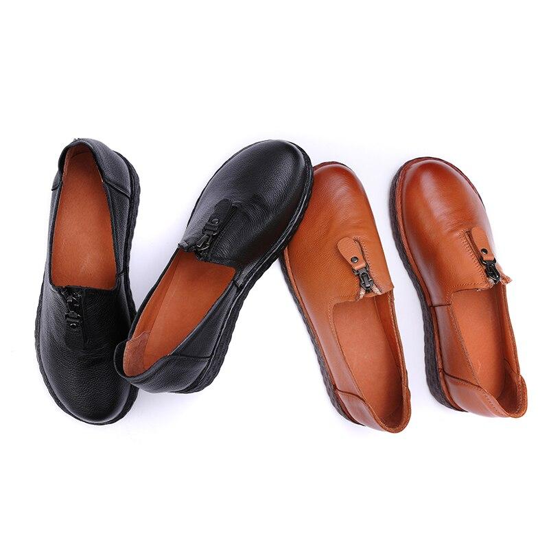 Noir Plates Lady Bout Cuir Supérieure Véritable Chaussures marron Zipper La Conception Confortable Loisirs En Rond Main Appartements Nouveau À Femme Femmes wHg7vq