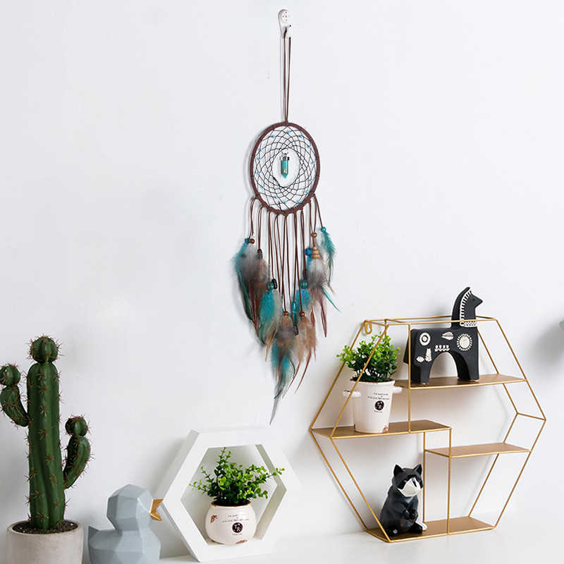 2018 Simple Wind Chime Pendant Creative Turquoise Dream Catcher Single Ring Bedroom Living Room Decoration Feather Wall Hanging