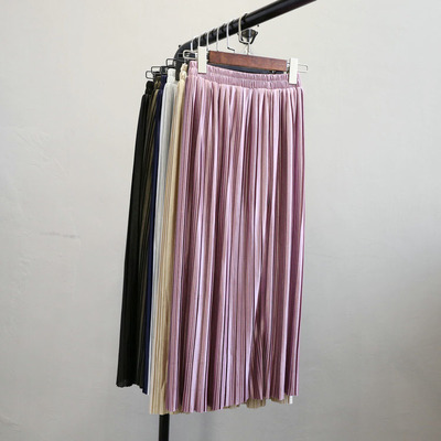 Fashion Pleated Skirt Women Elegant Maxi Skirt New Winter Office Lady High Waist Metallic Long Skirts Saia Femme Purple