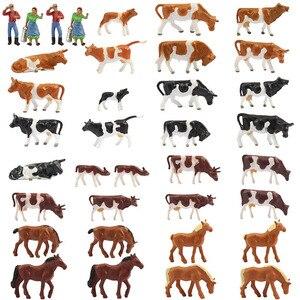 Image 1 - 36 adet 1: 87 minyatür iyi boyalı Model atlar İnekler modeli rakamlar çiftlik manzara manzara düzeni hayvanlar AN8707