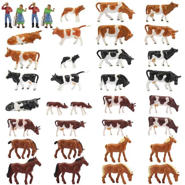 36 adet 1: 87 minyatür iyi boyalı Model atlar İnekler modeli rakamlar çiftlik manzara manzara düzeni hayvanlar AN8707