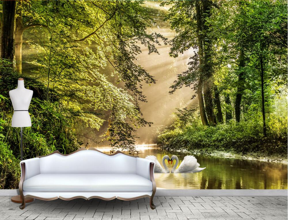 Custom 3 d mural,Beautiful forest, two swan in the water papel de parede,living room sofa wall tv background bedroom wallpaper large mural papel de parede european nostalgia abstract flower and bird wallpaper living room sofa tv wall bedroom 3d wallpaper