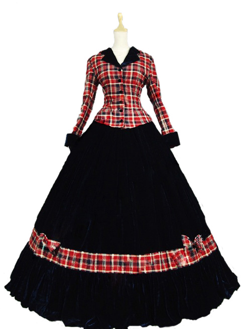 Pink Civil War Ball Gown Dress font b Tartan b font Velvet Reenactment Clothing Theatre Wear