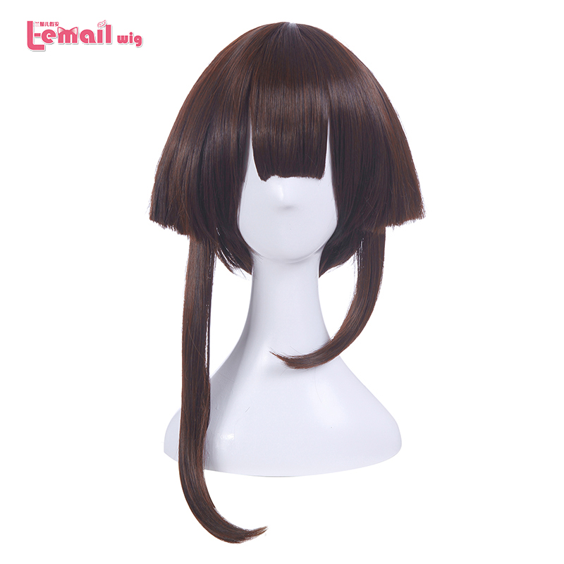 L-email wig Brand New Game Cosplay Wigs Long Dark Brown Heat Resistant Synthetic Hair Perucas Cosplay Wig