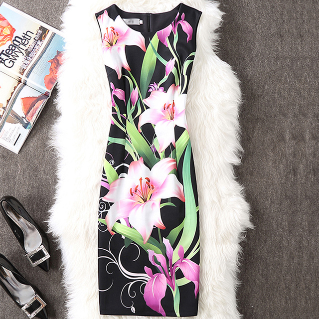 CYAN Summer Autumn Dress Women 2018 Casual Plus Size Elegant Floral Print Party Dress Sexy Slim Ladies Bodycon Dress Female 4XL