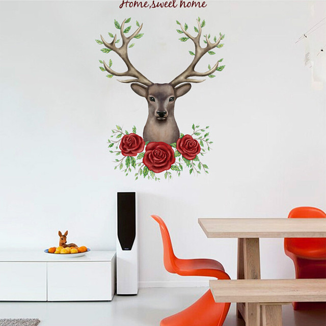 rose flower deer 3D wall stickers for living room bedroom kids room vinyl pvc wall decals  sc 1 st  AliExpress.com & rose flower deer 3D wall stickers for living room bedroom kids room ...