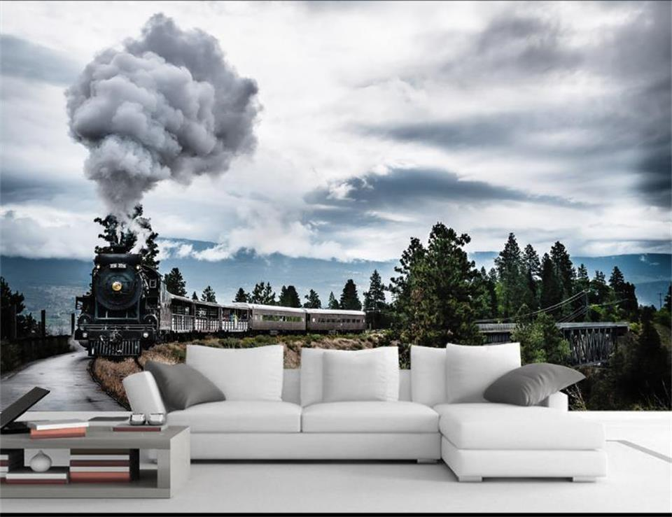3d wallpaper photo wallpaper custom living room mural steam train scenery 3d painting picture sofa TV background wall sticker 3d wallpaper custom mural non woven wall sticker black and white wood road snow tv setting wall painting photo wallpaper for 3d