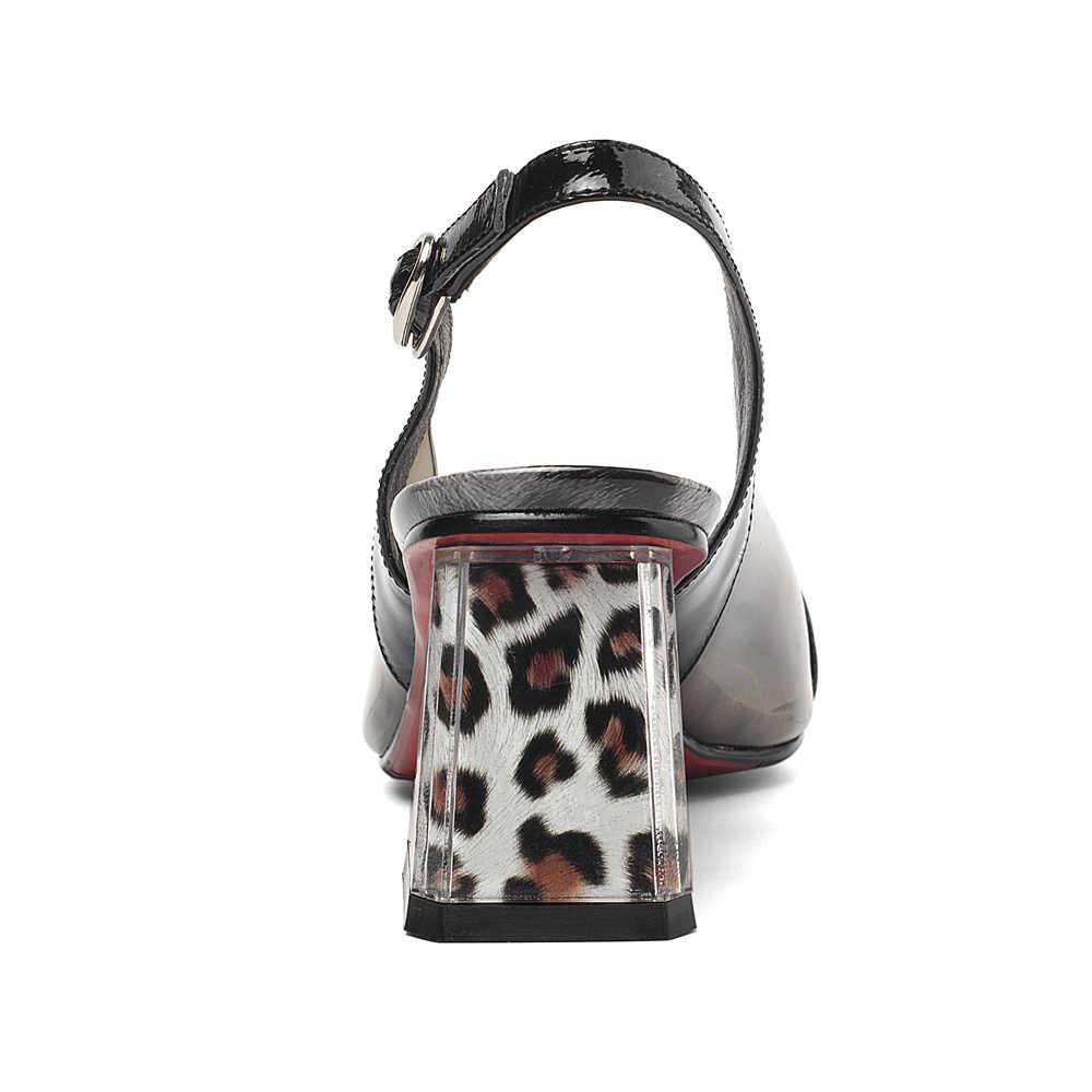 ANNYMOLI Hoge Hakken Vrouwen Slingbacks Schoenen Natuurlijke Echt Leer Dikke Hoge Hak Schoenen Transparante Gesp Pumps Dames Maat 41