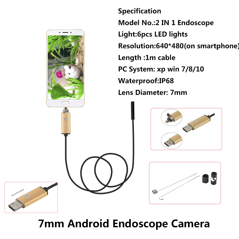 7MM HD Android Endoscope Camera Snake Pipe Inspection For Smartphone PC  1M 2M 5M 10M Cable Usb Endoscope Cam Ip68 Waterproof  видеоскоп kenko snake 140155 pipe wall kit 84033 удлинитель эндоскопа