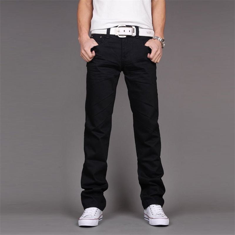 Cotton Mens Jeans 2017 New Fashion Business Casual Feet Straight Male Jeans Hot Sale Boys Popular Good Trousers Size 28-38 Black