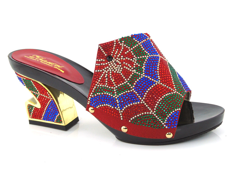 ФОТО African Sandals sexy Lady Shoes with stones,good quality red PU Leather High gold Heels For Women!size 37-43!!!HDD1-26