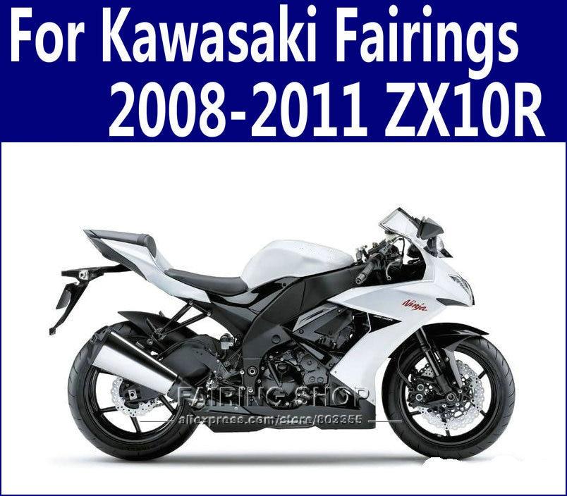 ZX10R 2008 2009 Silver&black Fairings For Kawasaki Ninja 2010 2011 08-11 Fairing kit Design free n33