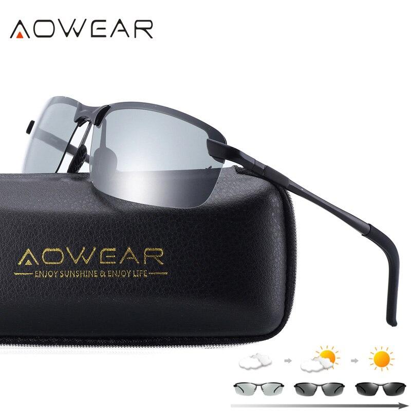 AOWEAR HD Polarizzati Occhiali Da Sole Fotocromatiche Uomini di Guida Chameleon Occhiali Maschio Day Night Driver Occhiali Oculos Lentes Sol Hombre