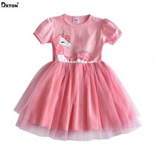 Robe d'été pour filles   Vêtements Tutu de princesse, motif de licorne, pour enfants, SH4570