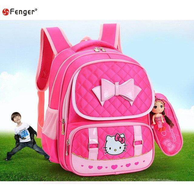 Hello Kitty Детей Школьные Сумки Для Девочек Детские, Школьные сумки Мультфильм милые дети рюкзаки дети mochila esc 4 цветов X572