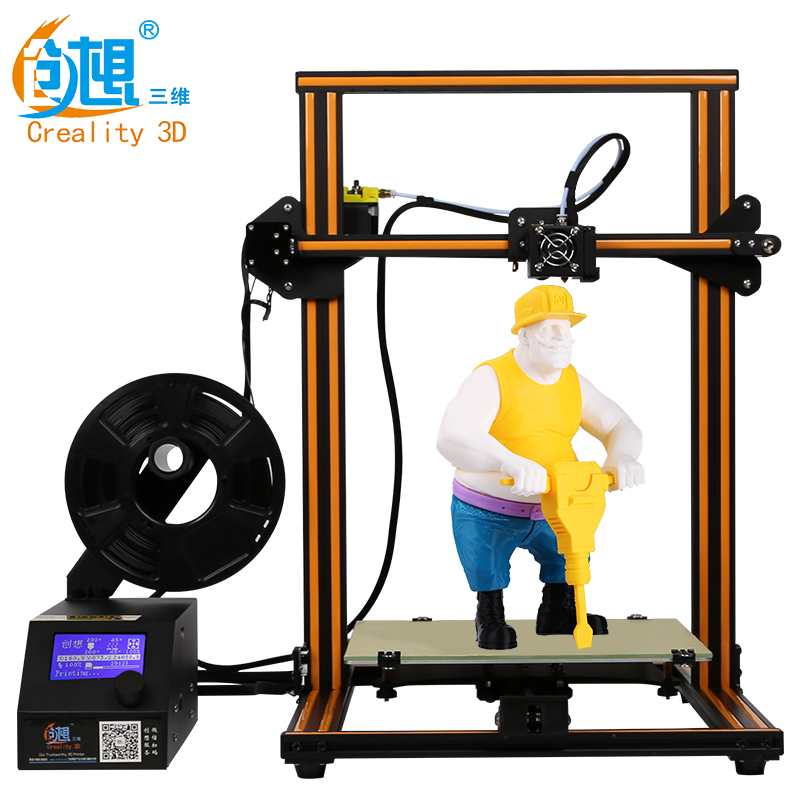 Large Size 300*300*400mm Creality CR-10 Series 3D Printer With LCD Screen High Precision 3D Printer With Filament Free Shipping creality 3d cr 10 cr 10s 3d printer with aluminum heated bed high precisio free testing filament free tool set free shipping