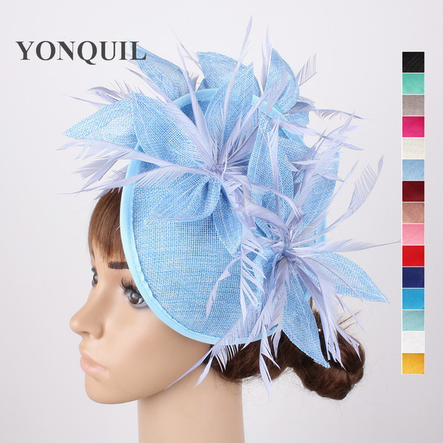 Light blue fascinator hats flower hair accessories ladies kentucky derby  hats 16 Colors or fascinator headbands with feathers 2c5490b2f72