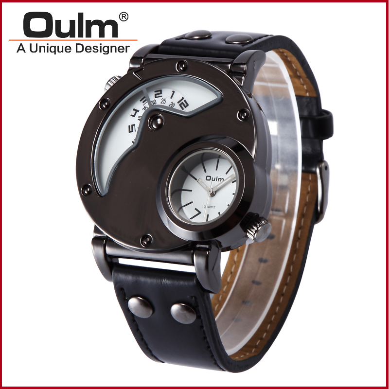 Oulm Watch Man Quartz Watches Top Brand Luxury Leather Strap Military Sport Wristwatch Male Clock relogio masculino drop ship
