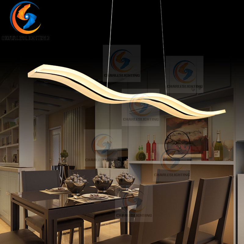 Wave Creative pendant lights Led modern for dinning room Acrylic+Metal suspension hanging ceiling lamp home lighting for Kitchen