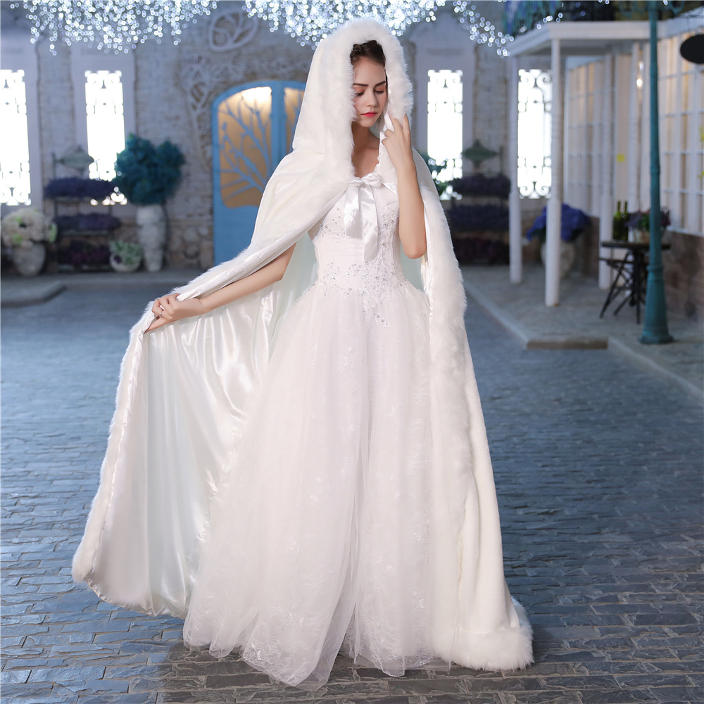 Winter Princess Cloak Hooded Faux Fur White Bridal Wedding Long Cape Floor Warm Fur Women Jacket Cloaks for Halloween Handmade