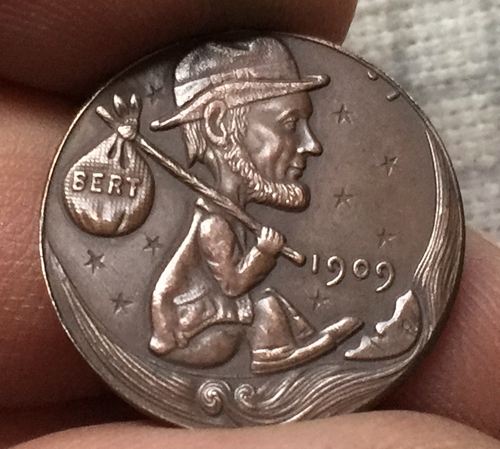 Hobo Nickel 1909 Lincoln Penny Coin Copy Free Shipping