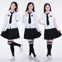 2016 Nuovo arriva Giapponese e Coreano Scuola Anime Uniform cosplay Top Quality Elegante Delle Ragazze Bianco E Nero Scuola uniformi stabiliti per ragazze