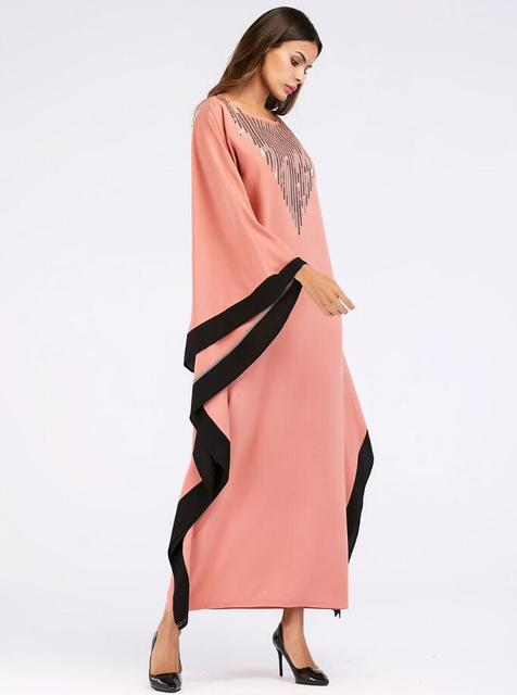 Arab elegant loose abaya kaftan islamic fashion muslim dress clothing design women bat sleeve dubai abaya Robe 4