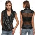 Black Women Fashion Turn Down Collar Zip-up Slim Fit Sexy Sheer Organza Patchwork Rivet Faux Leather Vest plus size 3XL