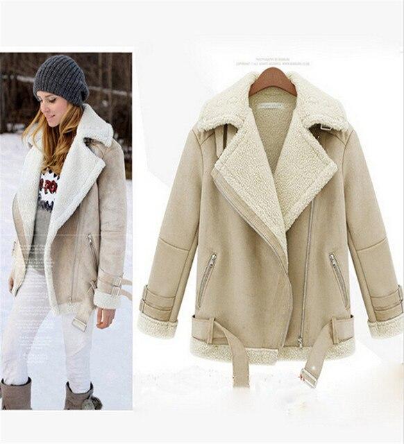 Женщин зимняя куртка мода искусственной овчины меховой опушкой дамы ягненка меховой воротник флис замши молнии пальто